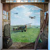 Декор ручной работы. Ярмарка Мастеров - ручная работа Рисунки на стенах - небо с самолетами. Handmade.