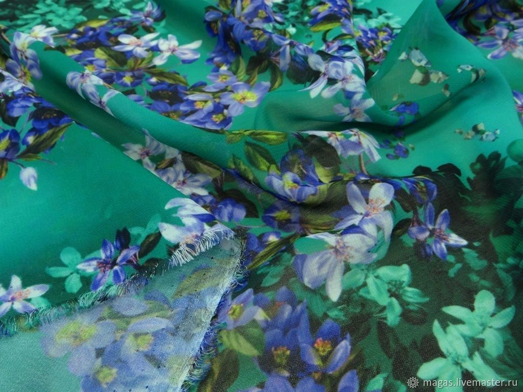 CHIFFON-FLOWERS ON THE EMERALD - GERMANY, Fabric, Moscow,  Фото №1