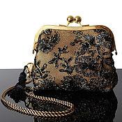 Сумки и аксессуары handmade. Livemaster - original item Evening bag, gold handbag, black handbag, embroidered handbag. Handmade.