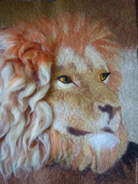 Животные ручной работы. Ярмарка Мастеров - ручная работа. Купить Картина Лев мокрое валяние. Handmade. Разноцветный, лев