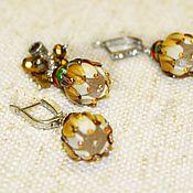 Украшения handmade. Livemaster - original item Set of Gold buds lampwork earrings and pendant. Handmade.