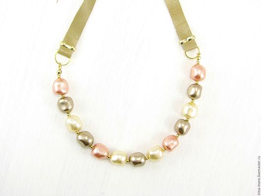 Irina Moro.  Ирина Моро.  Колье `Ванильная пастель`. Жемчужное ожерелье. Ожерелье из кожи. Купить ожерелье. Позолоченное ожерелье. Ожерелье из жемчуга.