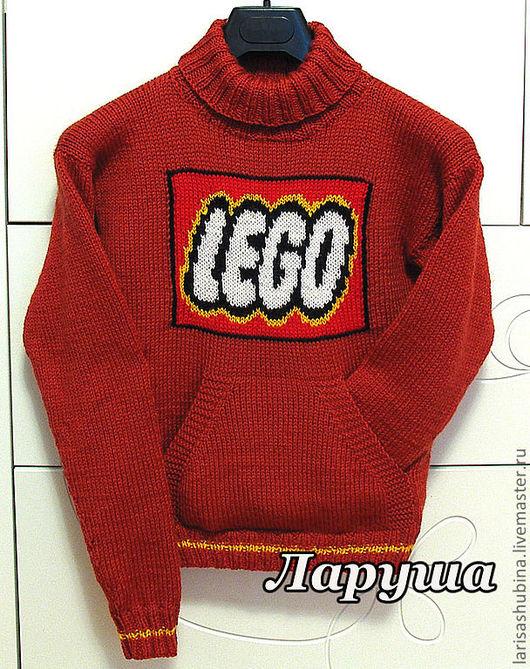 """Одежда для мальчиков, ручной работы. Ярмарка Мастеров - ручная работа. Купить Свитер """"Лего"""".. Handmade. Коричневый, рисунок, лего, лего"""