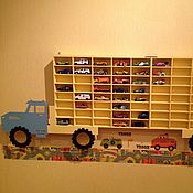 """Полка """"грузовик"""" для хранения машинок, полочка для моделек, стеллаж"""