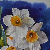 Картины и панно ручной работы. Ярмарка Мастеров - ручная работа акварель Нарциссы. Handmade.