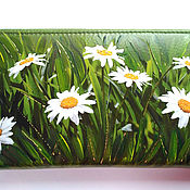 handmade. Livemaster - original item Purse large zipper Camomile women`s leather Gift March 8. Handmade.