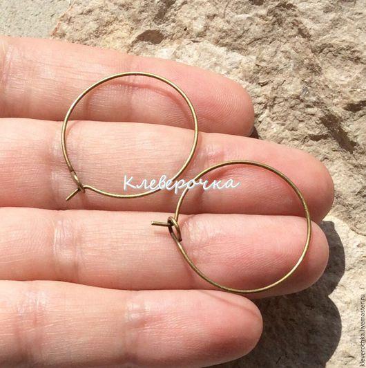 Швензы 25 мм кольца медь цвет бронза античная для сережек