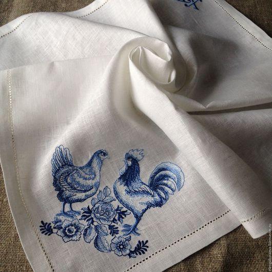 Подарки на Пасху ручной работы. Ярмарка Мастеров - ручная работа. Купить Пасхальная салфетка с вышивкой - Петушок и Курочка 60х60 см в корзину. Handmade.