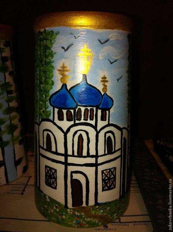 Ваза для сухоцветов. Деревянная вазочка для вербы или березки. Можно использовать для хранения свечей для домашней молитвы. Роспись акриловыми красками. Ручная роспись по дереву.