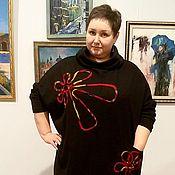 Одежда ручной работы. Ярмарка Мастеров - ручная работа Платье трикотажное черное с цветочками из ладена. Handmade.