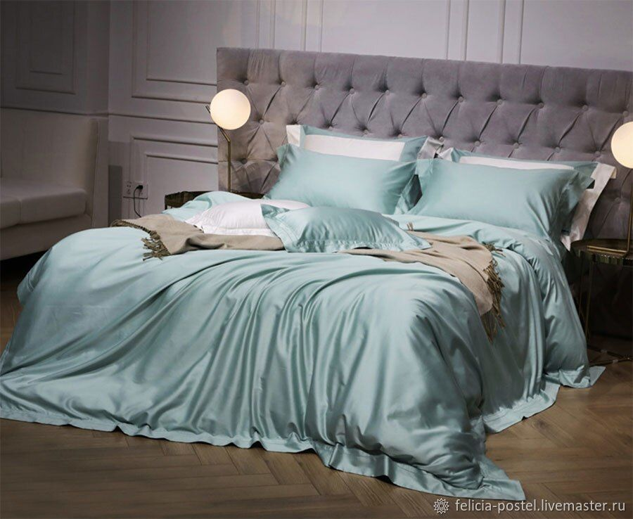 Lux satin bed linen in TIFFANY color, Valances and skirts for the bed, Cheboksary,  Фото №1
