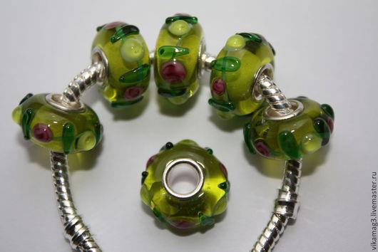 Для украшений ручной работы. Ярмарка Мастеров - ручная работа. Купить Пандора  бусины  Лэмпворк зеленые. Handmade. Пандора
