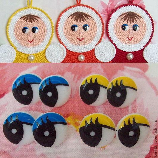 Куклы и игрушки ручной работы. Ярмарка Мастеров - ручная работа. Купить Круглые рисованные пластиковые глазки для игрушек, 16 мм. Handmade.
