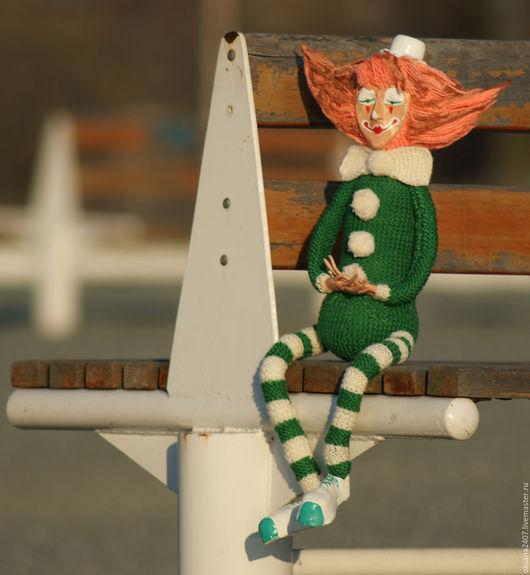 """Человечки ручной работы. Ярмарка Мастеров - ручная работа. Купить Интерьерная кукла """"Клоун"""". Handmade. Зеленый, клоун, интерьерная кукла"""