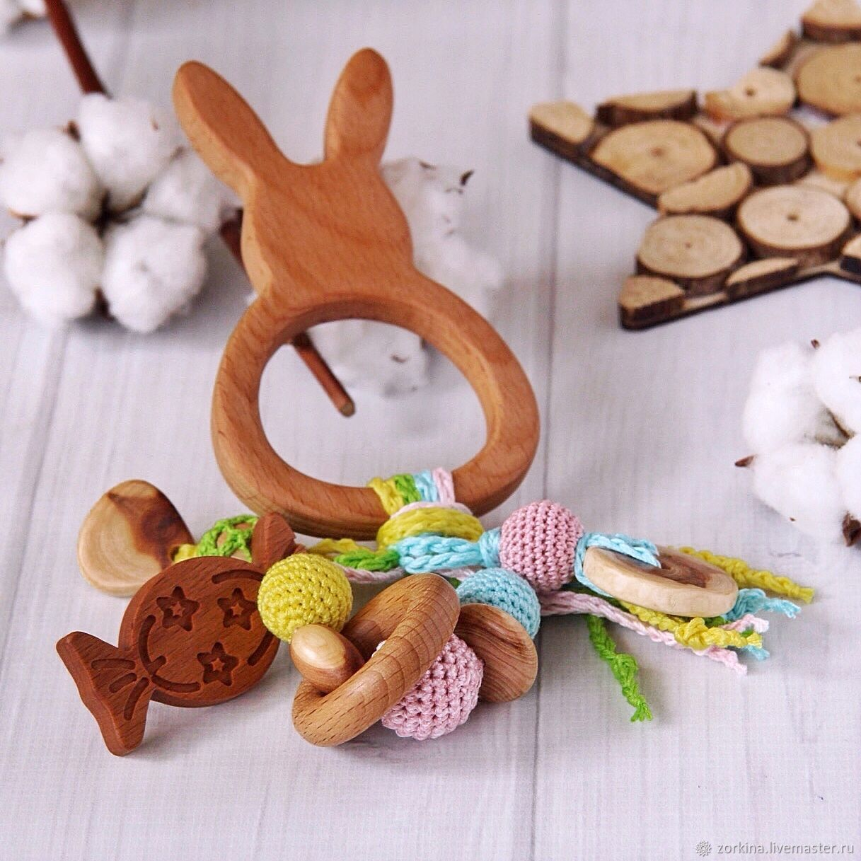 Rattle, teething toy for baby eco-friendly juniper Eared Bunny, Teethers rattles, Izhevsk,  Фото №1
