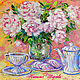 """Картины цветов ручной работы. Ярмарка Мастеров - ручная работа. Купить Картина """"Пионы и Чай с Зефиром"""" масло, холст. Handmade."""