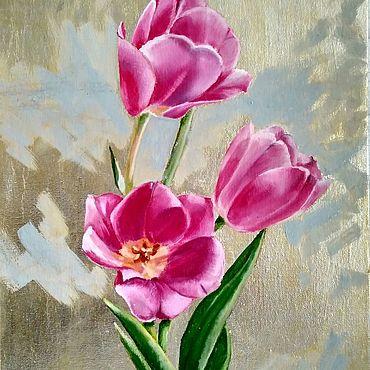 Картины и панно ручной работы. Ярмарка Мастеров - ручная работа Картина маслом Букет тюльпанов на серебряном фоне  гиперреализм. Handmade.