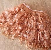 Материалы для творчества handmade. Livemaster - original item Mohair tress (peach) (Hair for dolls). Handmade.
