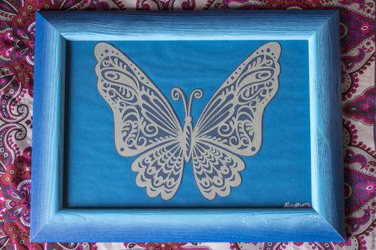 Животные ручной работы. Ярмарка Мастеров - ручная работа. Купить Бабочка небесная. Handmade. Синий, картина, вырезанная вручную, вытынанка