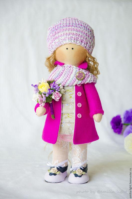 Куклы тыквоголовки ручной работы. Ярмарка Мастеров - ручная работа. Купить Малышка парижанка. Handmade. Фуксия, интерьерная кукла, цветы