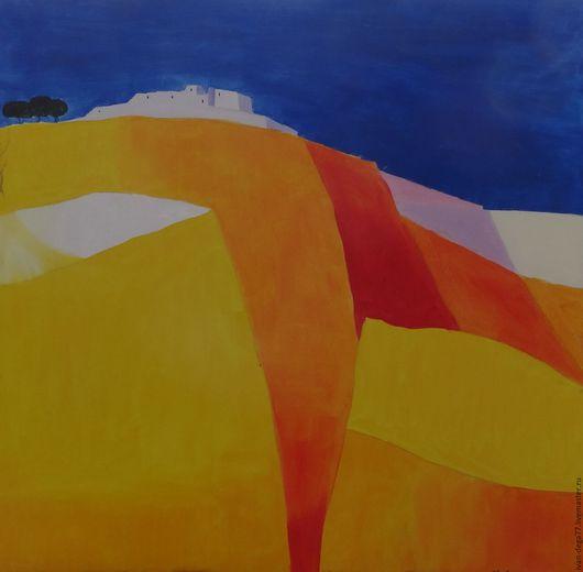 Пейзаж ручной работы. Ярмарка Мастеров - ручная работа. Купить Желтые горы. Handmade. Желтый, холмы, красный, холст на подрамнике