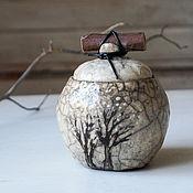 """Посуда ручной работы. Ярмарка Мастеров - ручная работа чайница, сахарница из серии """"акварельная зима"""" керамика раку. Handmade."""