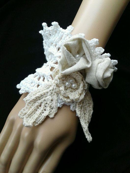 Варежки, митенки, перчатки ручной работы. Ярмарка Мастеров - ручная работа. Купить Бохо браслет-манжет 1. Handmade. Бохо