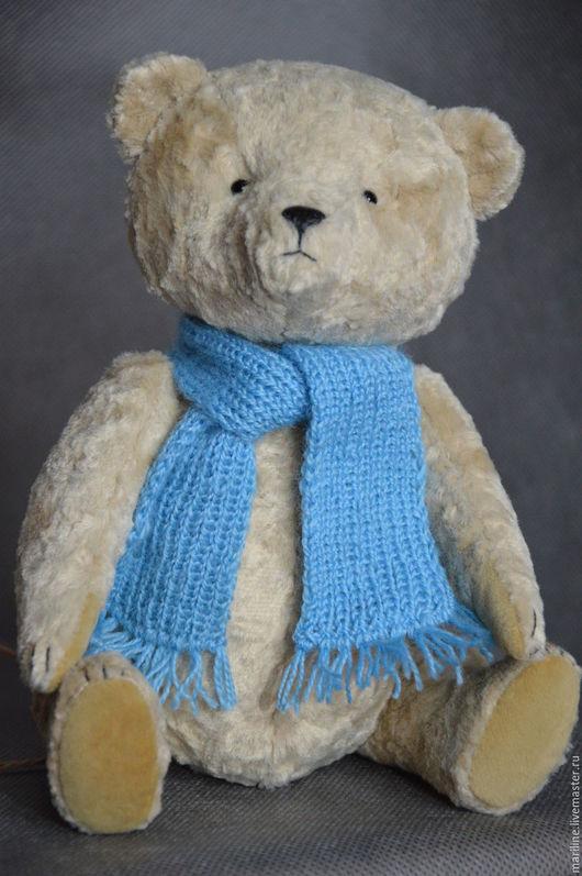 """Мишки Тедди ручной работы. Ярмарка Мастеров - ручная работа. Купить Мишка тедди в голубом шарфике из серии """"Просто мишки"""". Handmade."""