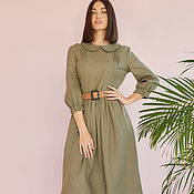 Одежда handmade. Livemaster - original item Olive-colored linen dress with a collar. Handmade.