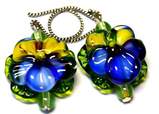 Earrings handmade. Livemaster - handmade. Buy Earrings Oh ,these eyes in the technique of lampwork..Earrings, flowers