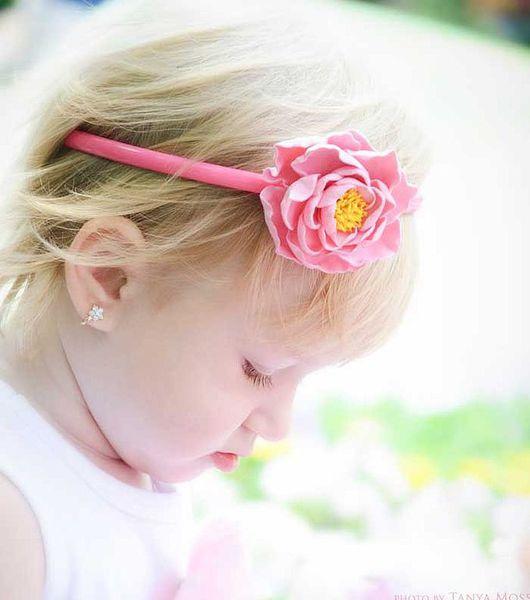 Диадемы, обручи ручной работы. Ярмарка Мастеров - ручная работа. Купить Детский ободок с розовым цветком. Handmade. Розовый цветок
