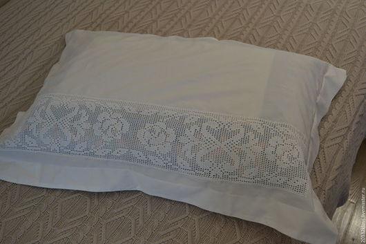 Текстиль, ковры ручной работы. Ярмарка Мастеров - ручная работа. Купить наволочка с филейным кружевом. Handmade. Постельное белье, прошва