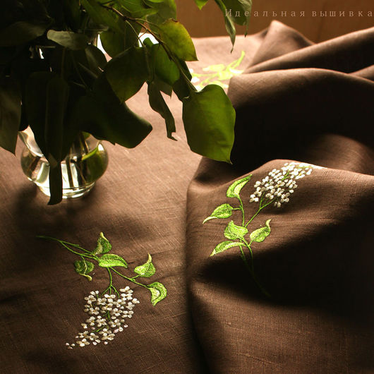 """Текстиль, ковры ручной работы. Ярмарка Мастеров - ручная работа. Купить Набор льняной """"Белая сирень"""" 3 предмета. Handmade."""