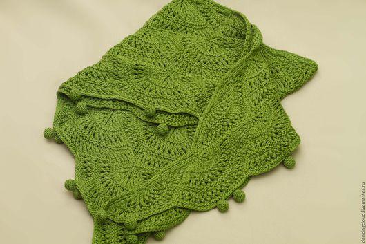 Шарфы и шарфики ручной работы. Ярмарка Мастеров - ручная работа. Купить Шаль зеленая. Handmade. Зеленый, болотный