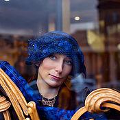 """Аксессуары ручной работы. Ярмарка Мастеров - ручная работа дизайнерская шляпка и перчатки  в наличии из фетра"""" Синий  """". Handmade."""