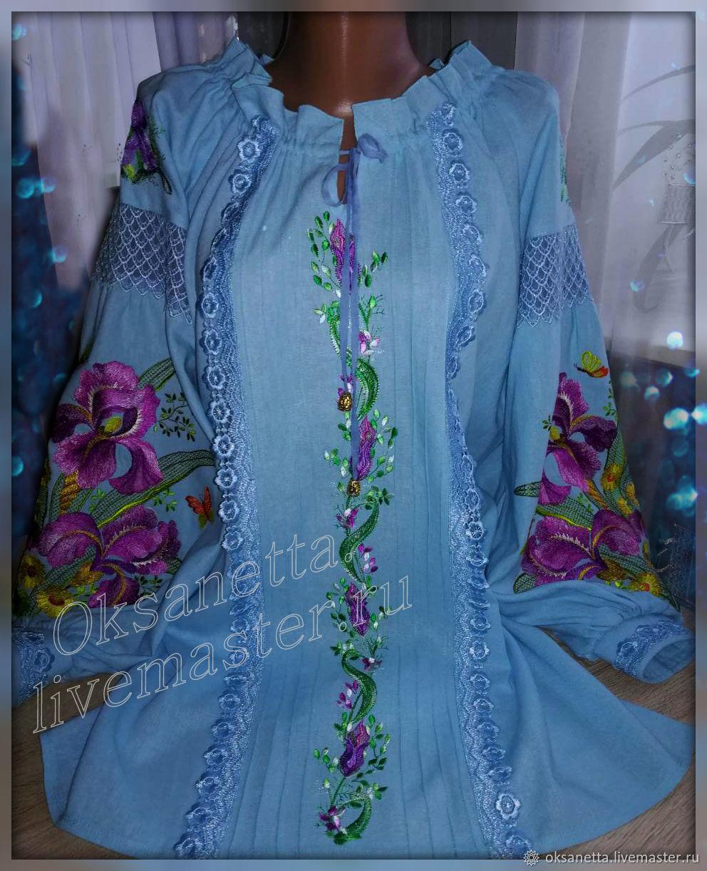 Blouses handmade. Livemaster - handmade. Buy Tunic 'Irises', azure flax.Embroidery, dressy blouse, embroidered shirt