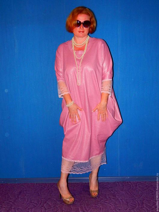 Платья ручной работы. Ярмарка Мастеров - ручная работа. Купить Платье Tenderness. Handmade. Бледно-розовый, лен, свободный крой