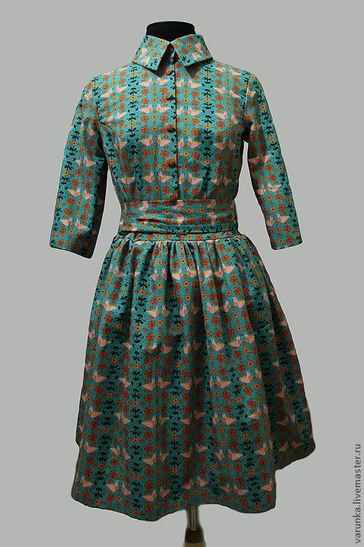 """Платья ручной работы. Ярмарка Мастеров - ручная работа. Купить платье """"Пташки"""". Handmade. Цветочный, бирюзовый цвет, винтажное платье"""