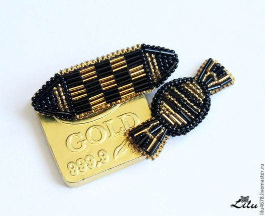 Броши ручной работы. Ярмарка Мастеров - ручная работа. Купить Парные броши конфетки черно-золотые из бисера. Handmade. Золотой
