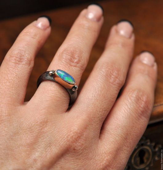 """Кольца ручной работы. Ярмарка Мастеров - ручная работа. Купить Кольцо """"Опал"""". Handmade. Комбинированный, опал, эфиопский опал"""