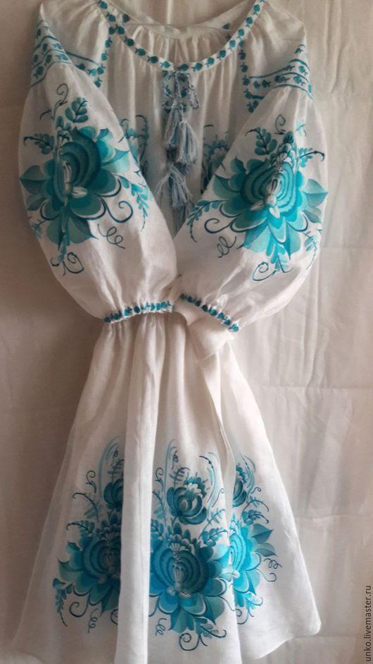 """Платья ручной работы. Ярмарка Мастеров - ручная работа. Купить Нарядное платье """"Гжель"""". Handmade. Орнамент, лен, красивый"""