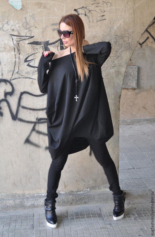 Черная блузка-туника. Модная блузка. Блузка ручной работы.