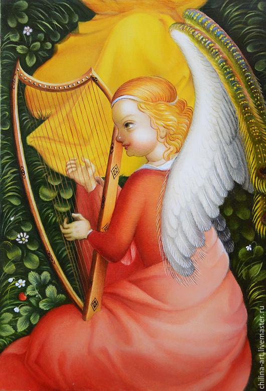 Иконы ручной работы. Ярмарка Мастеров - ручная работа. Купить Ангел с арфой. Handmade. Разноцветный, картина в подарок, готика