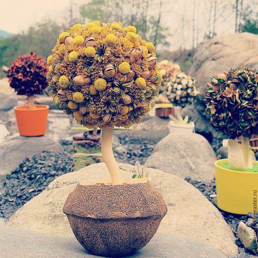 """Топиарии ручной работы. Ярмарка Мастеров - ручная работа. Купить """"Солнечная осень """". Handmade. Желтый, топиарий из сухоцветов"""