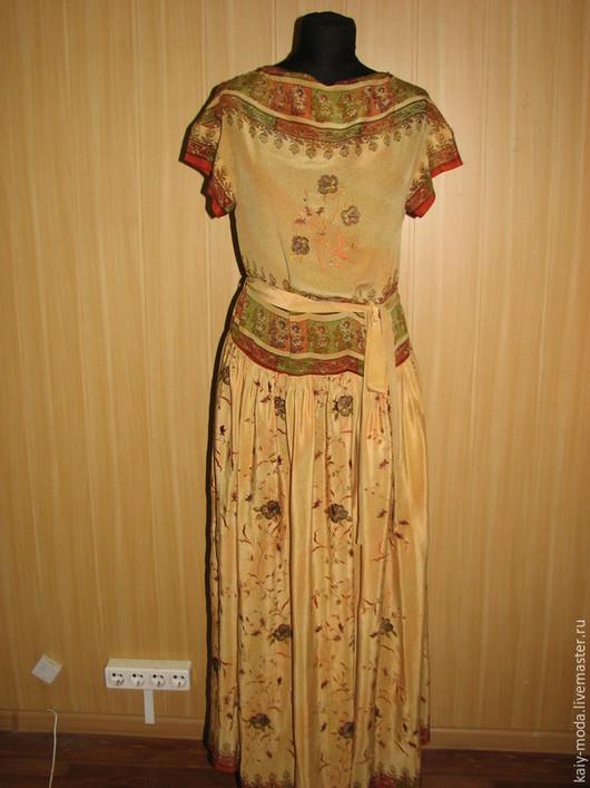 Платья ручной работы. Ярмарка Мастеров - ручная работа. Купить Платье из индийского сари. Handmade. Бежевый, шёлковое сари