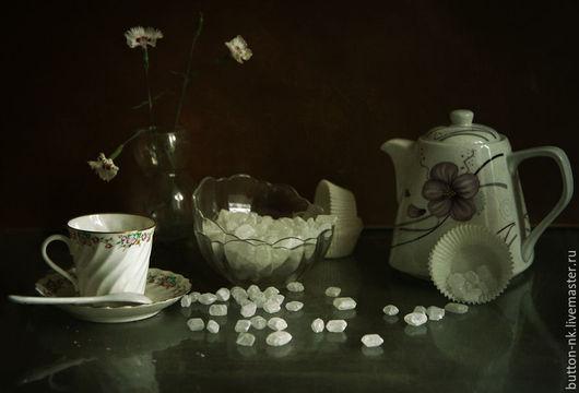 Фотокартины ручной работы. Ярмарка Мастеров - ручная работа. Купить Натюрморт Вечерний чай с карамельным сахаром. Handmade. Белый, посуда