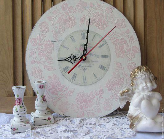 Часы для дома ручной работы. Ярмарка Мастеров - ручная работа. Купить Часы настенные шебби. Handmade. Бледно-розовый, шебби