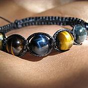 Bead bracelet handmade. Livemaster - original item Shamballa bracelet with tiger eye, Falcon eye, black agate. Handmade.