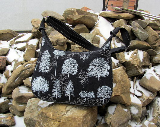 Женские сумки ручной работы. Ярмарка Мастеров - ручная работа. Купить Сумка стеганая из льняной ткани Зимний лес. Handmade.