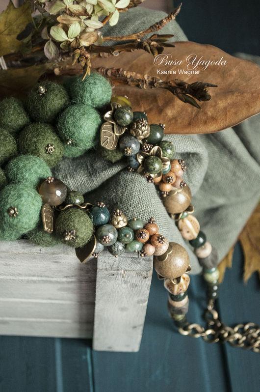 """Колье, бусы ручной работы. Ярмарка Мастеров - ручная работа. Купить Колье ручной работы """"Замшелый лес"""". Handmade."""